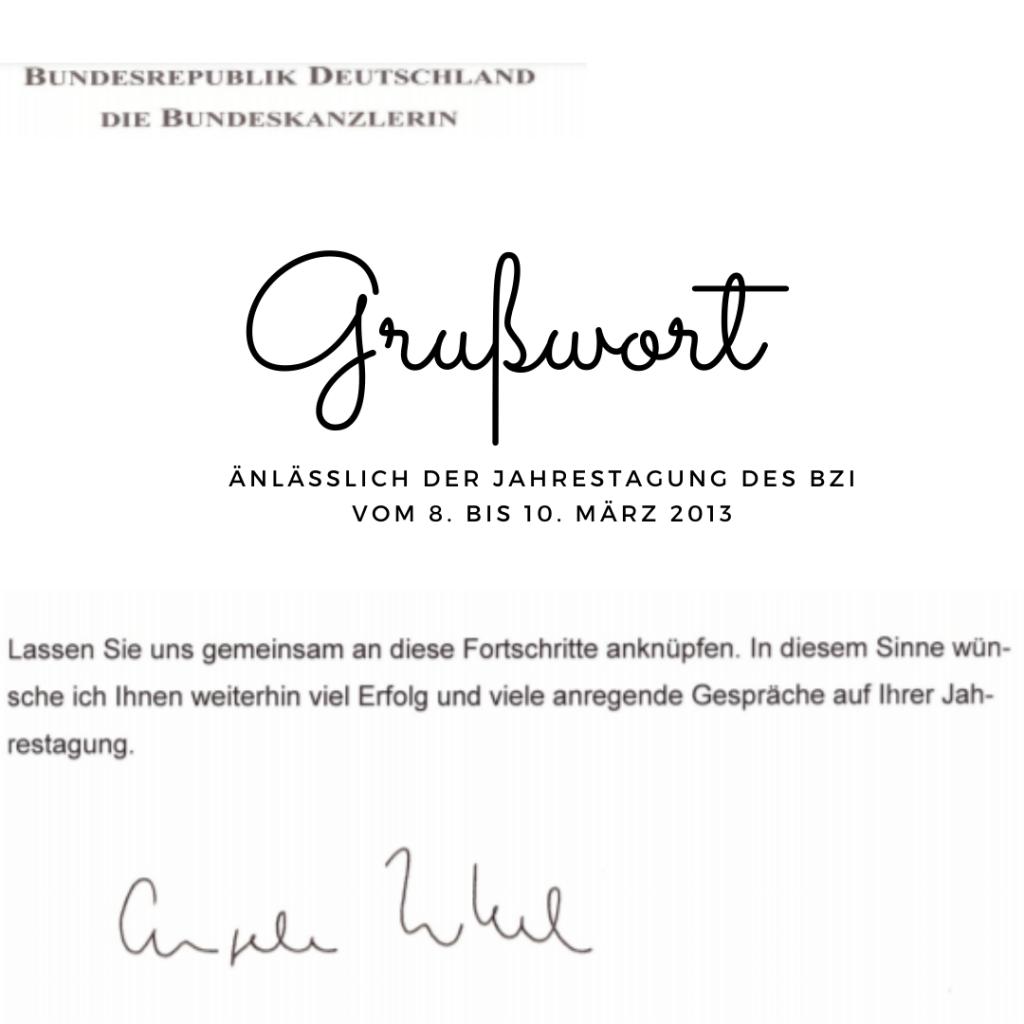 Jahrestagung des BZI mit Grußwort von Angela Merkel